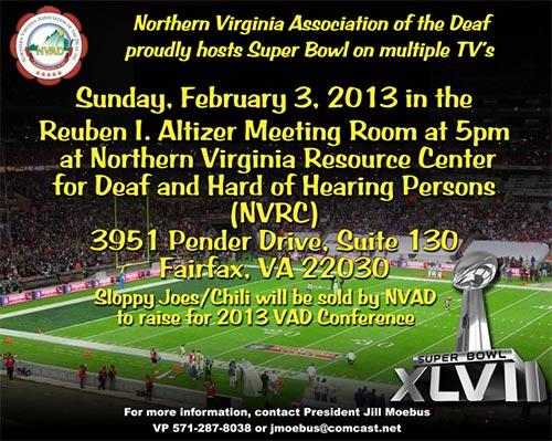 NVAD Super Bowl Event at NVRC, Sunday February 3!