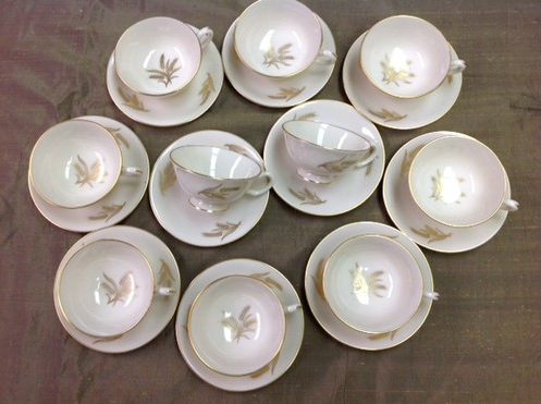 Auction – Lenox Harvest Wheat China Tea Cups and Saucers set of 10