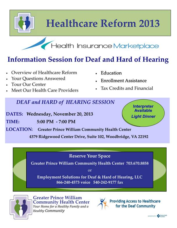 Healthcare Reform Information for Deaf, Hard of Hearing, Prince William Co.