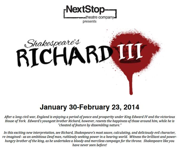 NextStop Theater Company presents Shakespeare Richard the III,