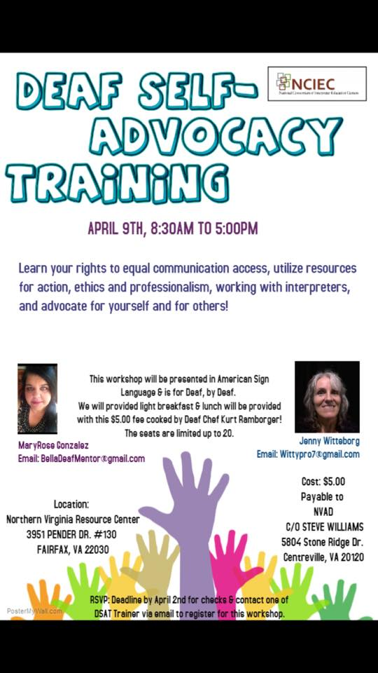 Deaf Self-Advocacy Training_Saturday, April 9, 2016